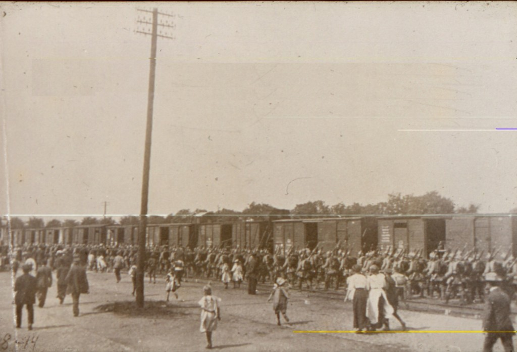 Regiment 84 på Haderslev banegård 8. august 1914