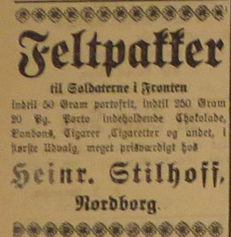 6. oktober 1914. Køb færdigtpakkede feltpakker med tobak og chokolade!