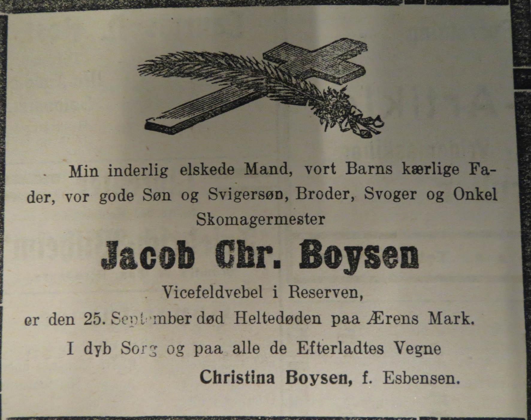 5. oktober 1914. Dødsannonce for skomagermester Boysen