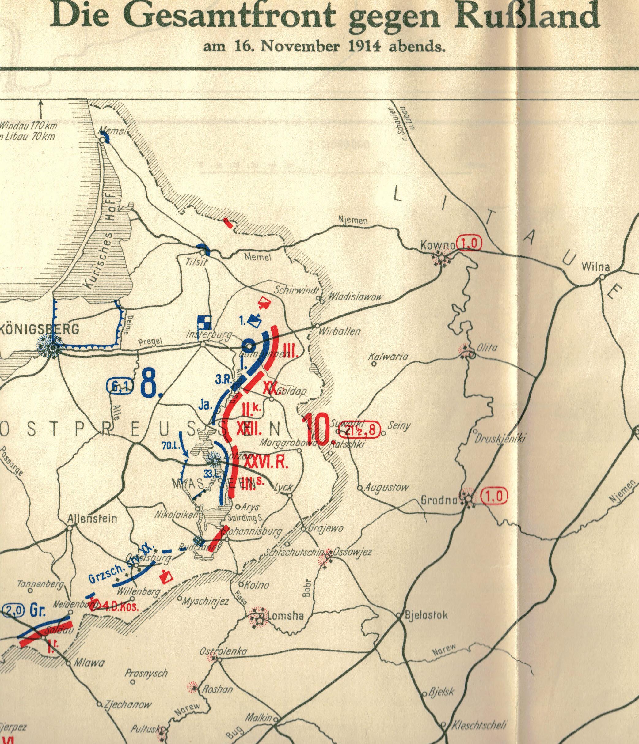 """16. november 1914. Østfront. LIR nr. 84: """"Tilbagetrækning selvom man havde givet russerne et kraftigt slag."""""""
