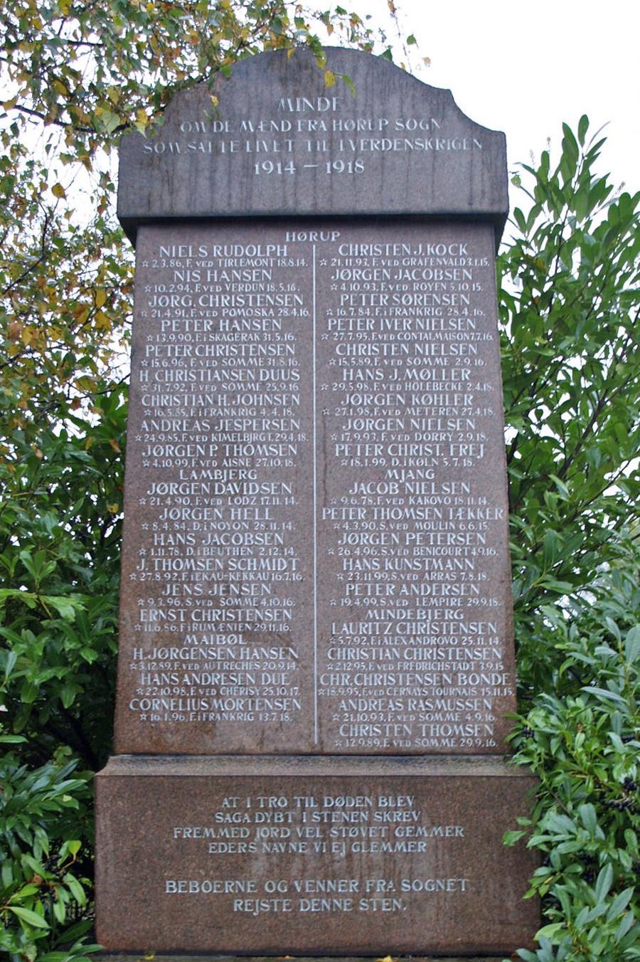 Mindesten, Hørup Kirkegård