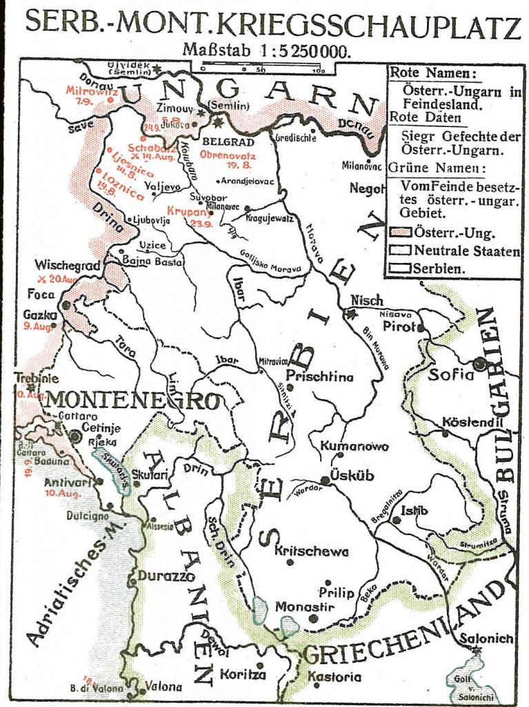 1914-09-23 Krigskort Balkan