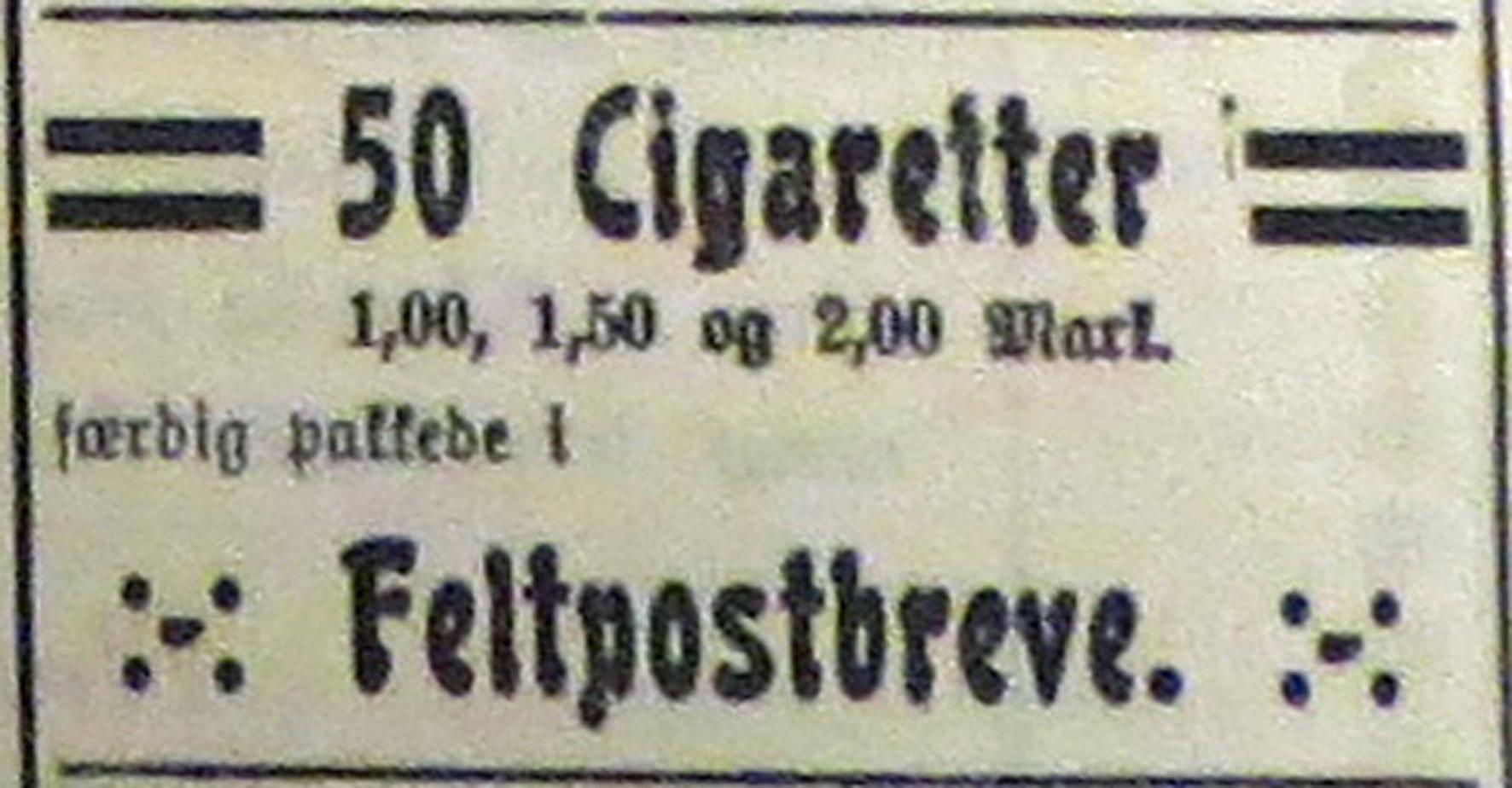 26. januar 1915. Annonce: Stearinlys i stedet for petroleum!  Tæpper af avispapir!