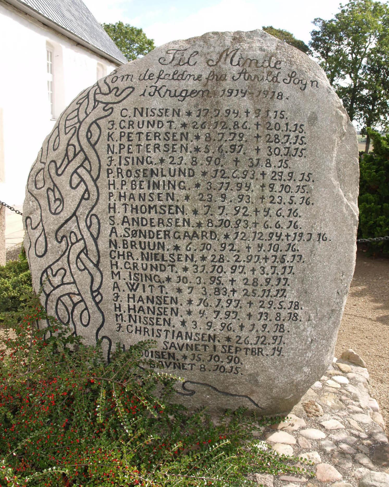 Mindesten, Arrild Kirkegård