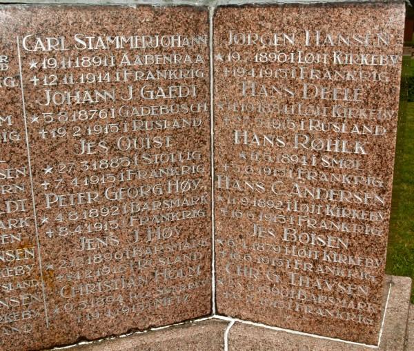 Detalje af mindesten, Løjt Kirkegård