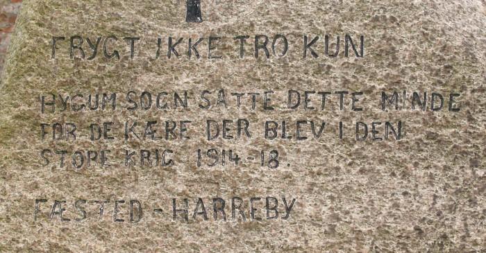 Detalje af mindesten, Sønder Hygum Kirkegård