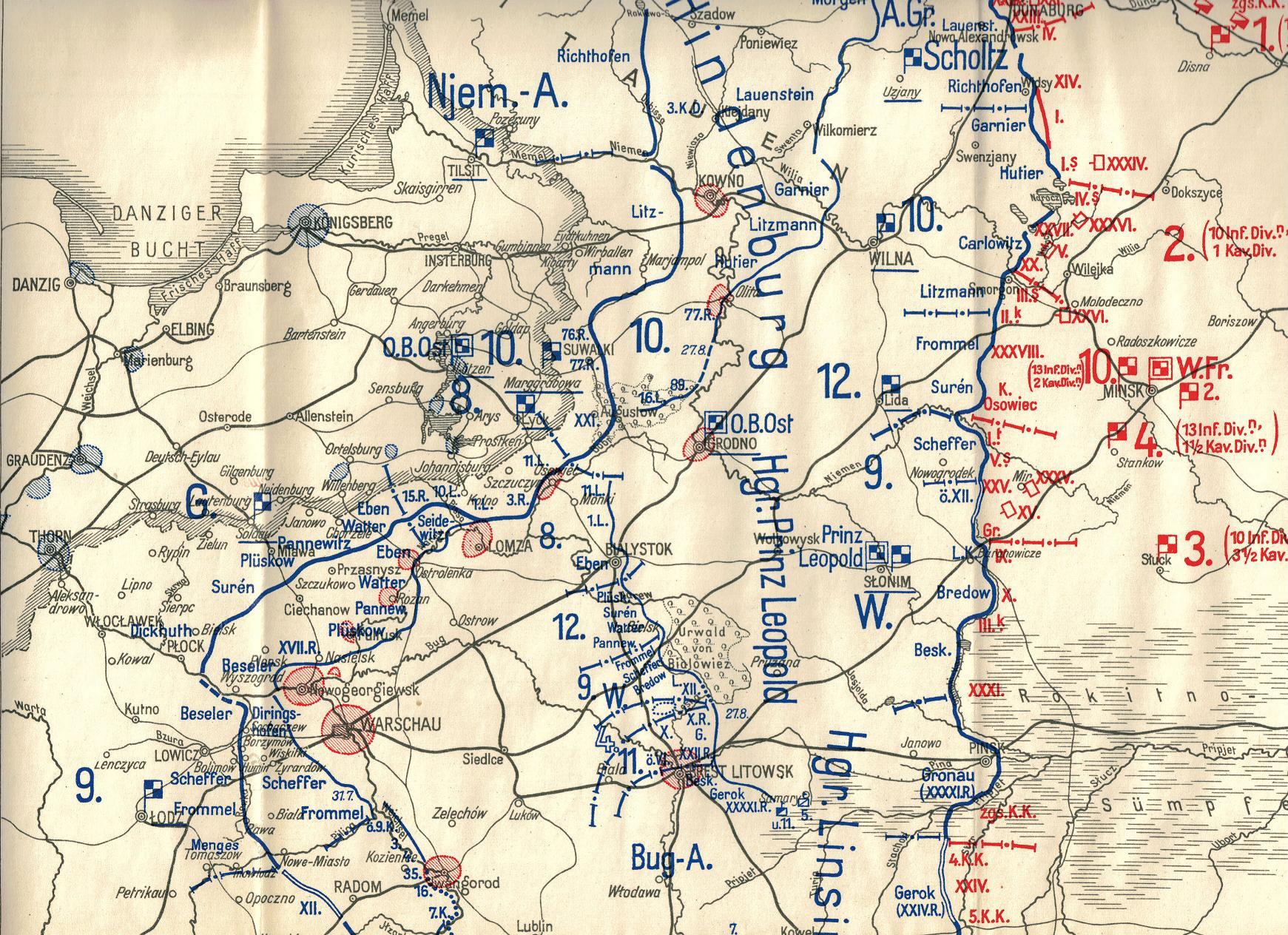 26. august 1915: Overblik over kampene på Østfronten i juli og august
