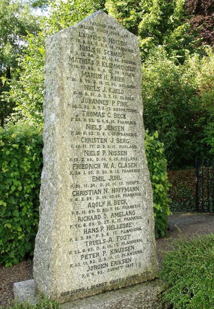 Mindesten. Aller Kirkegård med Niels Peter Nissens navn