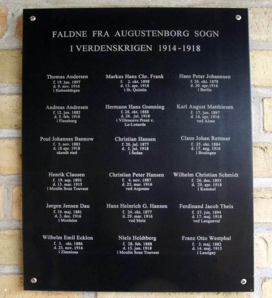 Mindetavle, Augustenborg Kirke
