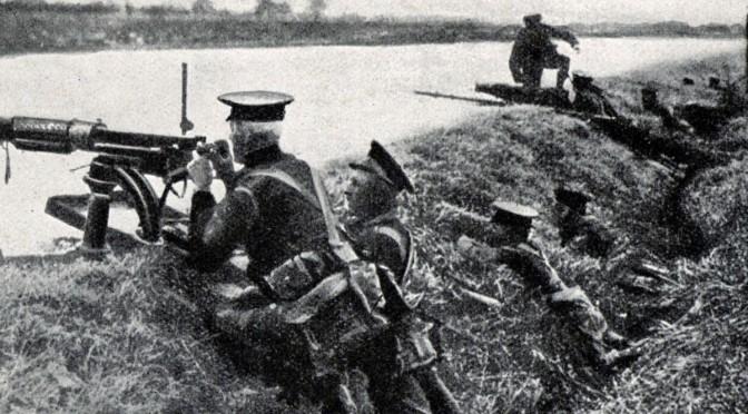 """23. august 1914. Mons: """"Maskingeværerne sendte deres Haglbyger ind i vore Rækker"""""""