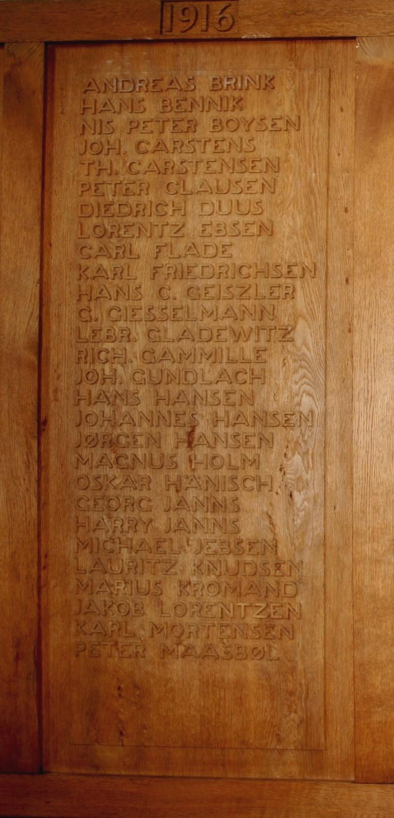 Detalje af mindetavle, Skt. Nicolai Kirke, Aabenraa