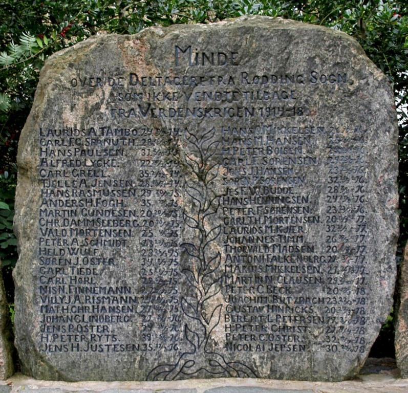Mindesten, Rødding Kirkegård