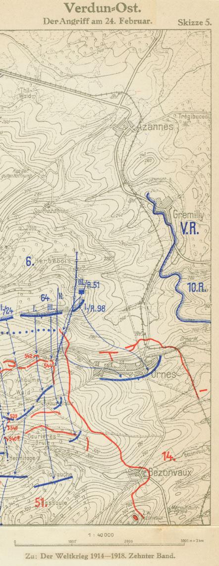 Udsnit af kort over det tyske angreb ved Verdun 24. februar 1916, fra Der Weltkrieg 1914-1918, bd. 10.
