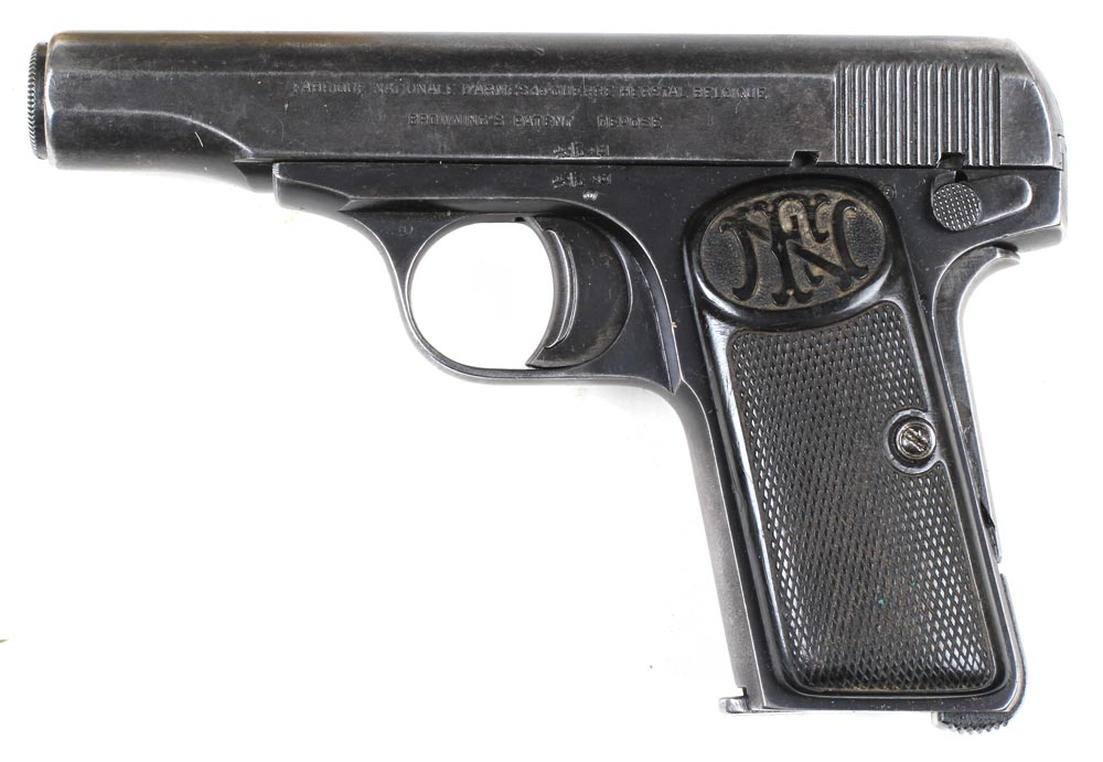 Belgisk automatpistol Browning mle. 1910, kaliber 7,65 mm (Museum Sønderjylland - Sønderborg Slot)