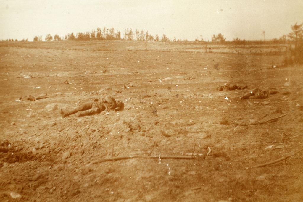 Slagmark med døde russere, Claus Eskildsens østfrontalbum (Lokalhistorisk Arkiv for Gl. Tønder Kommune)