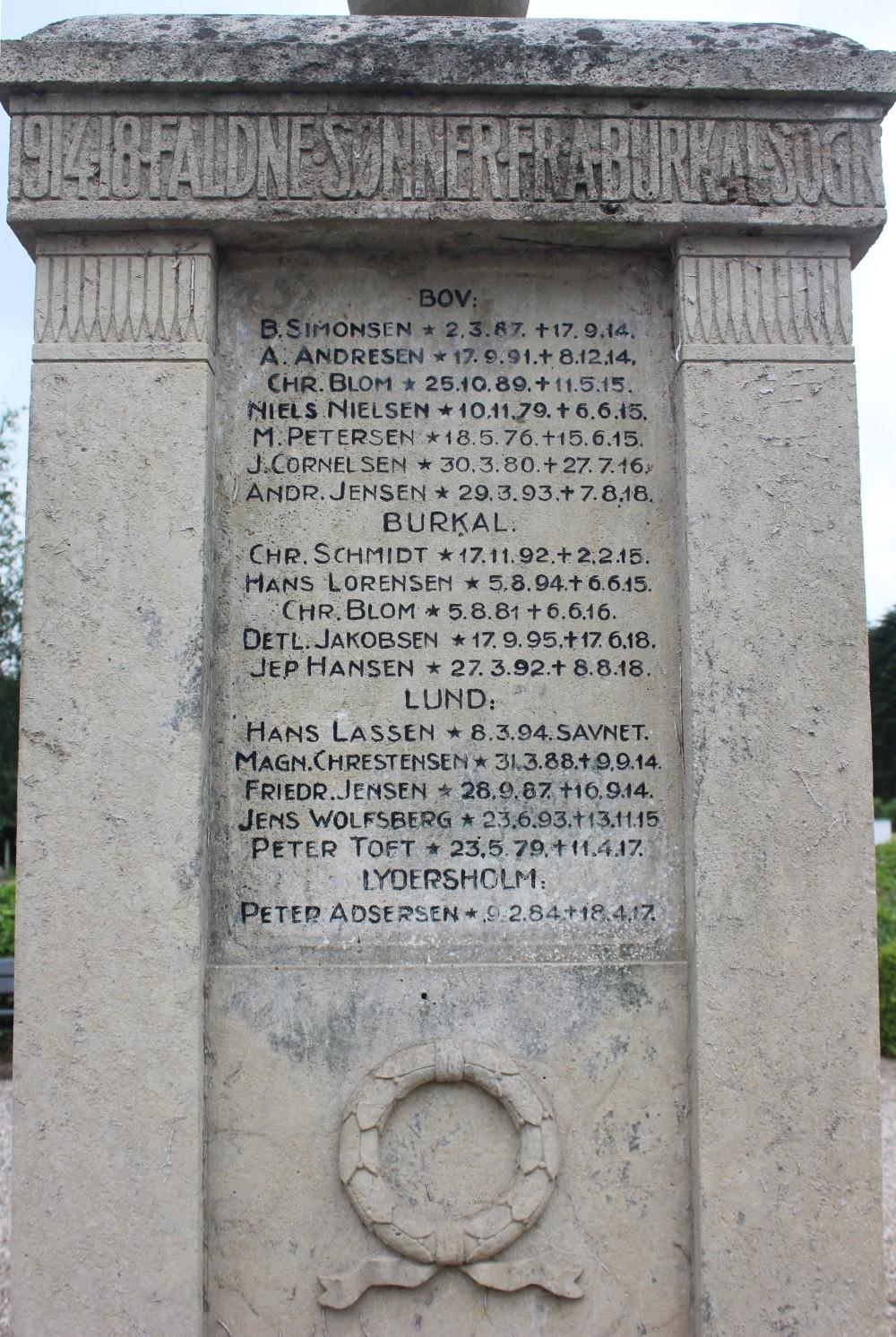Detalje af mindesten, Burkal Kirkegård