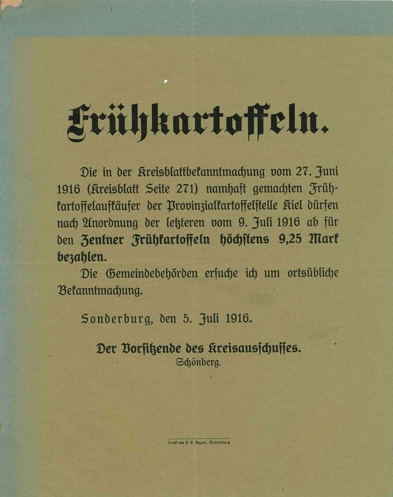 Bekendtgørelse 5. juli 1916 ang. maximum-priser på opkøb af tidlige kartofler.   Findes på Sønderborg Slot.