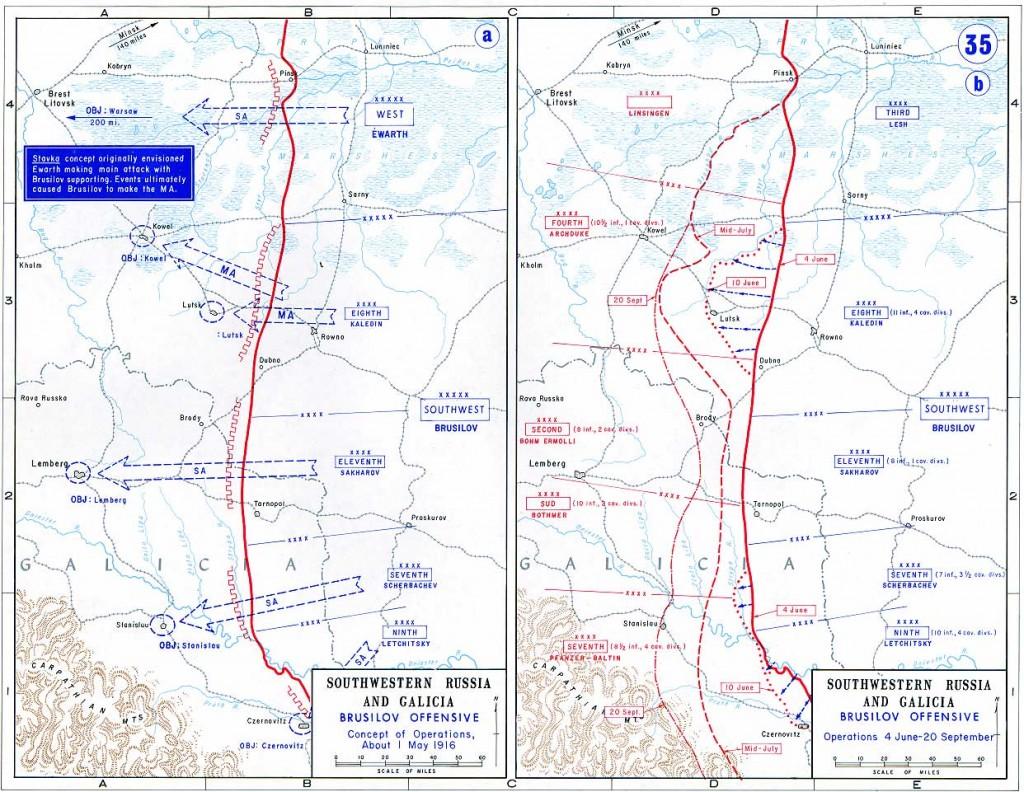 Den sydlige del af Østfronten: Brusilov-offensiven; til venstre planen for offensiven, til højre frontlinjens reelle udvikling fra juni til september 1916.