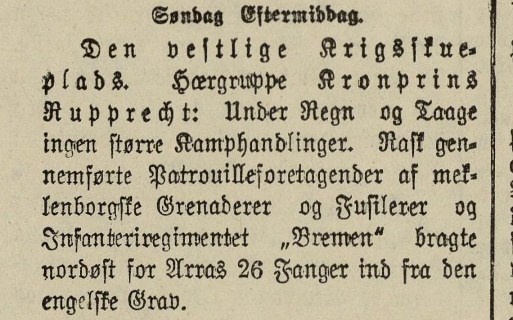 """Udsnit af Flensborg Avis 27. november 1916 med omtale af kamppatrulje """"Hansa"""" udført af blandt andet Infanterie-Regiment """"Bremen"""" Nr. 75 25.-26. november 1916"""