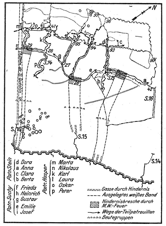 "Kort over operation ""Hansa"" gennemført 25. - 26. november 1916 (Zipfel u. Albrecht: Geschichte des Infanterie-Regiments Bremen (1. Hanseatisches) Nr. 75, Bremen 1934, s. 234)"
