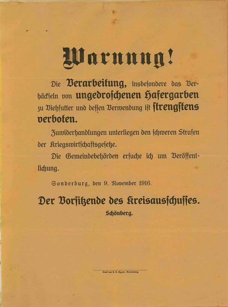 Bekendtgørelse, dateret 9. november 1916, ang. forbud mod forarbejdelse af og fodring med havre. (Tilhører Sønderborg Slot)