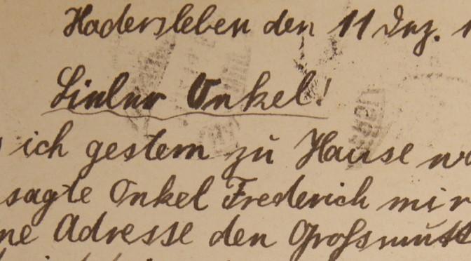"30. november 1916 – Jörgen Möller: ""Lieber Onkel"""