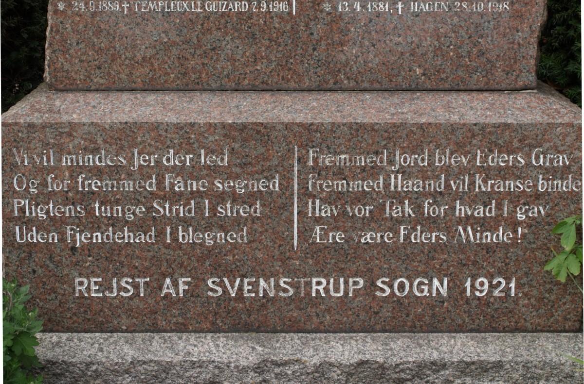 Detalje af mindesten, Svenstrup Kirkegård