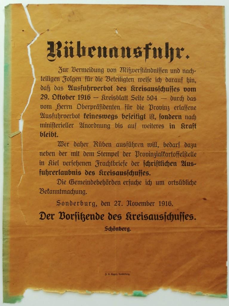 Bekendtgørelse, dateret 27. november 1916, ang. forbud mod udførsel af roer. (Tilhører Sønderborg Slot)