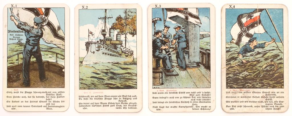 """Serie fra tysk firkortspil """"Soldatenlieder Quartett"""" med vers fra """"Flottenlied"""" (Zeppelin og Garnisonsmuseet Tønder)"""