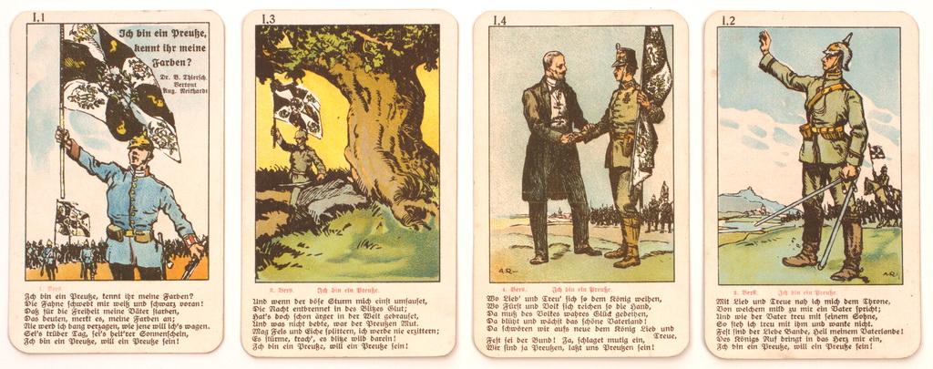 "Serie fra tysk firkortspil ""Soldatenlieder Quartett"" med vers fra ""Ich bin ein Preusse"" (Zeppelin og Garnisonsmuseet Tønder)"