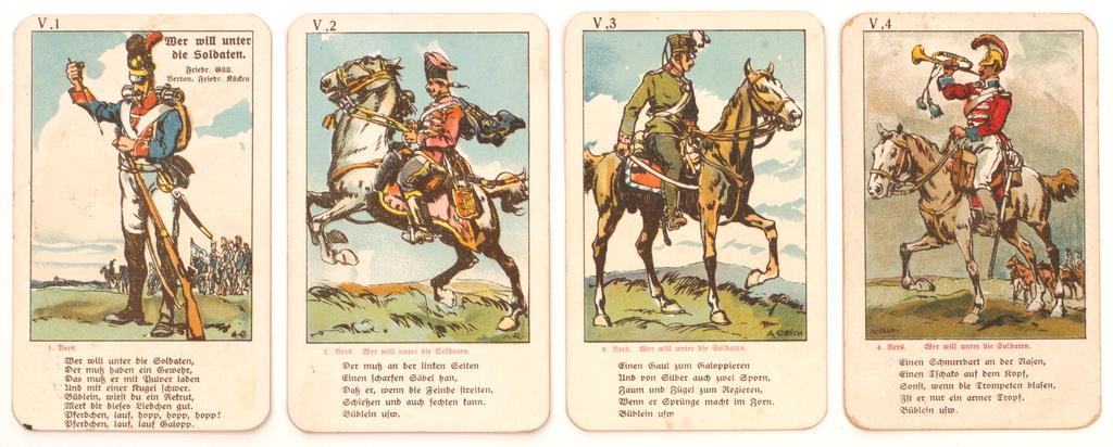 "Serie fra tysk firkortspil ""Soldatenlieder Quartett"" med vers fra ""Wer will unter die Soldaten"" (Zeppelin og Garnisonsmuseet Tønder)"