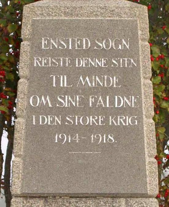 Del af mindesten, Ensted Kirkegård