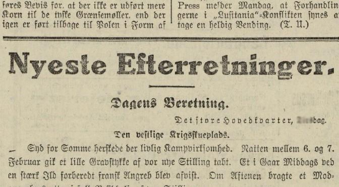 """19. marts 1918 – Nyeste Efterretninger: """"… i Flandern heldige Opklaringsfremstød"""""""