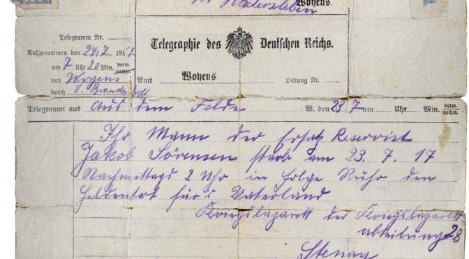 Fra samlingerne: Telegram m. dødsmeddelelse