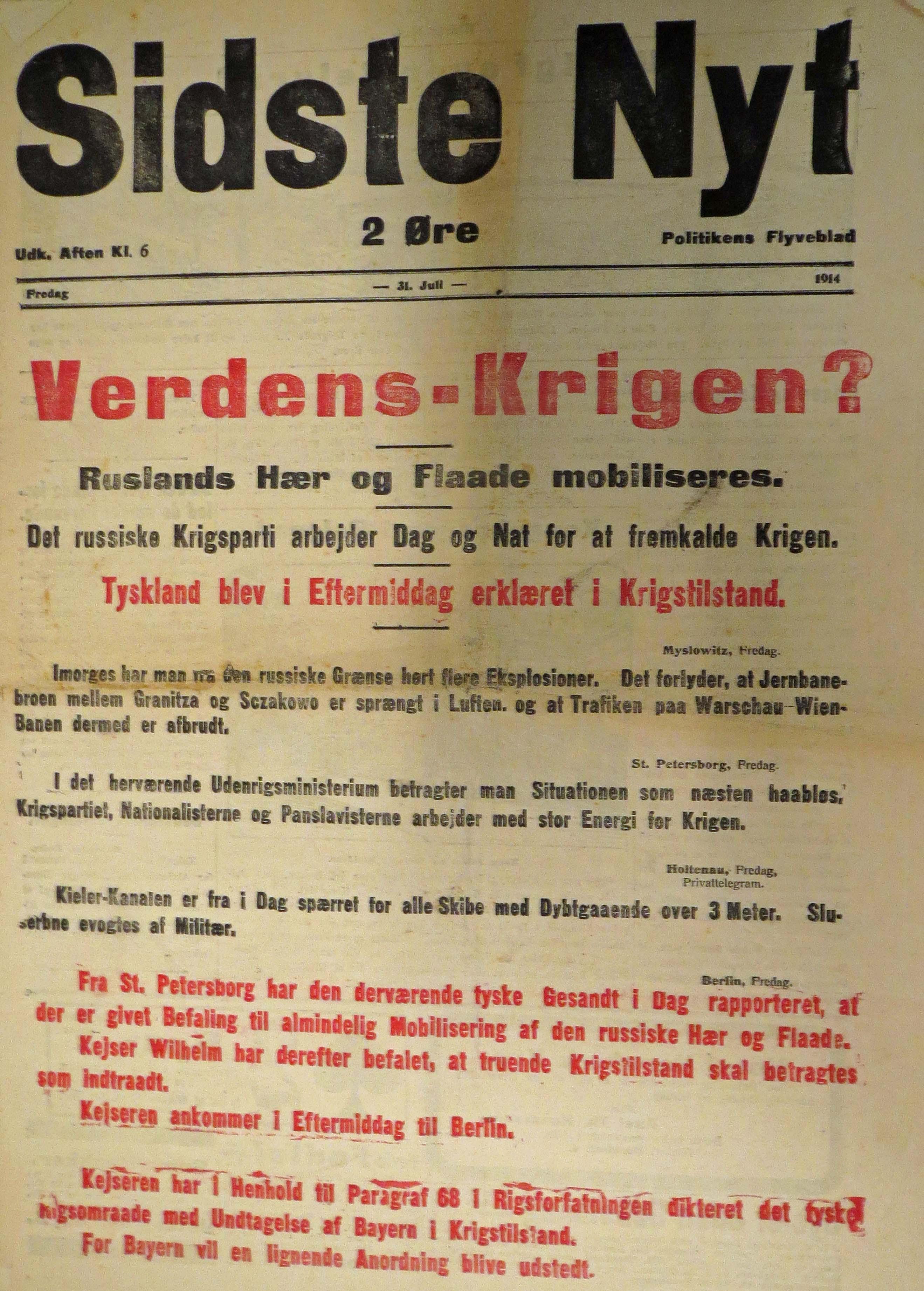 31. juli 1914.Verdenskrigen?