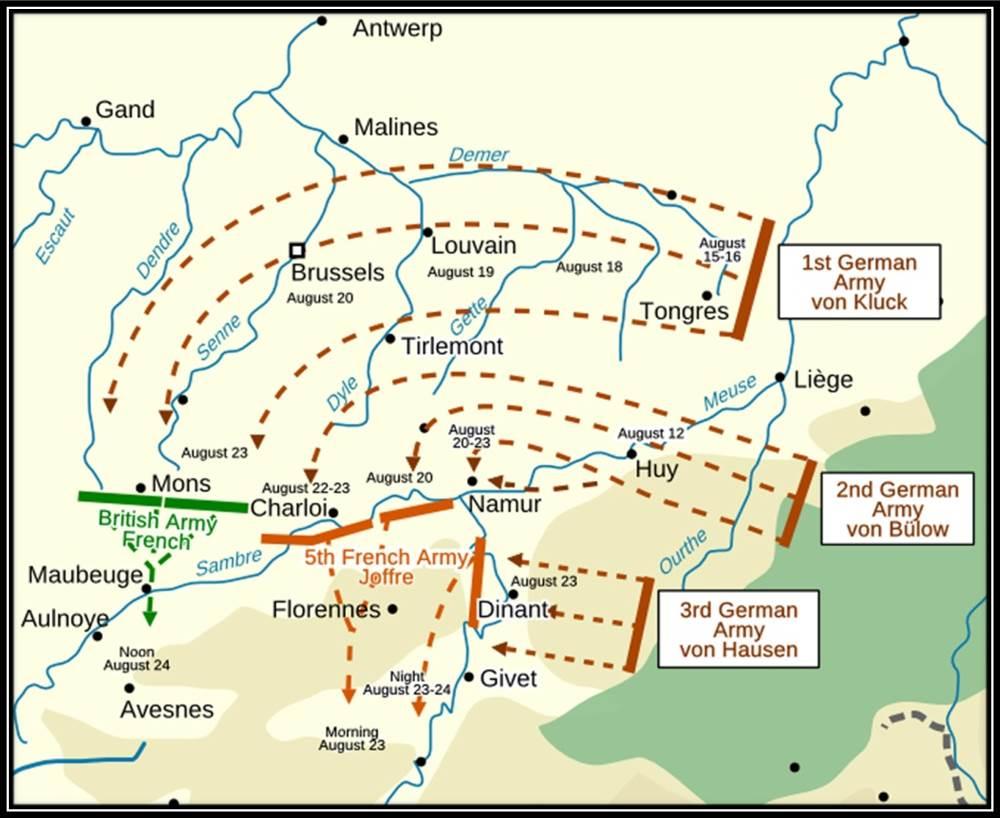 23. august 1914. Hårde kampe ved Mons.