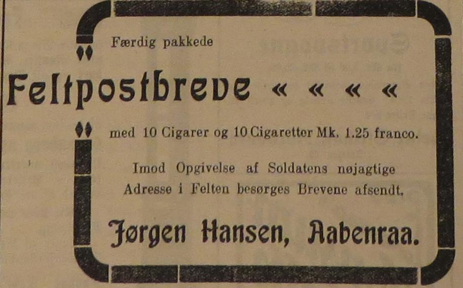 29. august 1914. Annonce: Færdigt pakkede feltpostbreve med tobak!