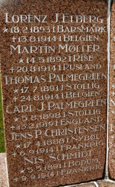 Mindesten, Løjt Kirkegård, med de to brødre Palmgreen