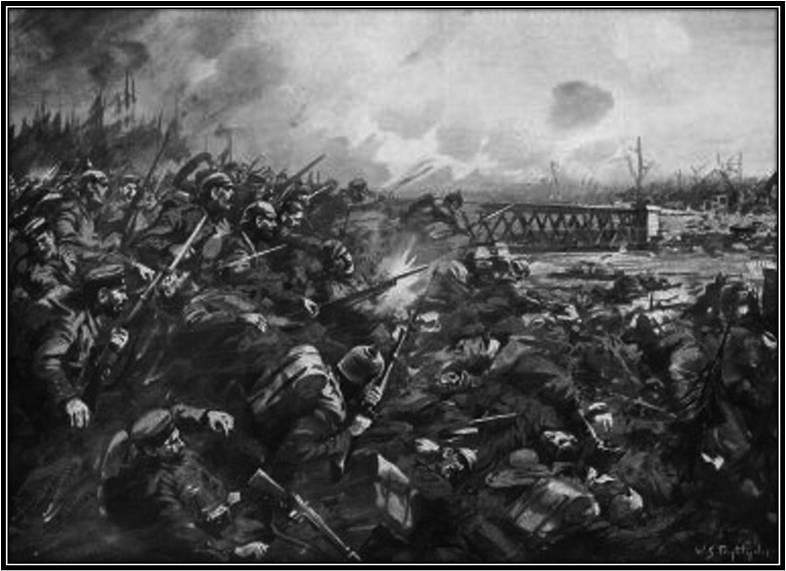 """23. august 1914. """"Hele 10. Kompagnis godt 200 Mand var bleven dræbt af de engelske Maskingeværer"""""""