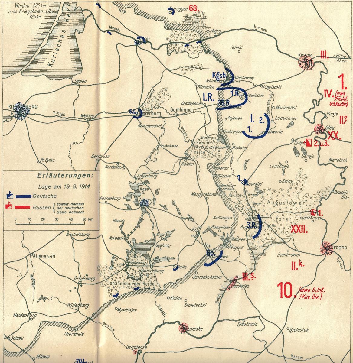 23. september 1914. Landwehr-Division Goltz forbereder angrebet på Ossowjez