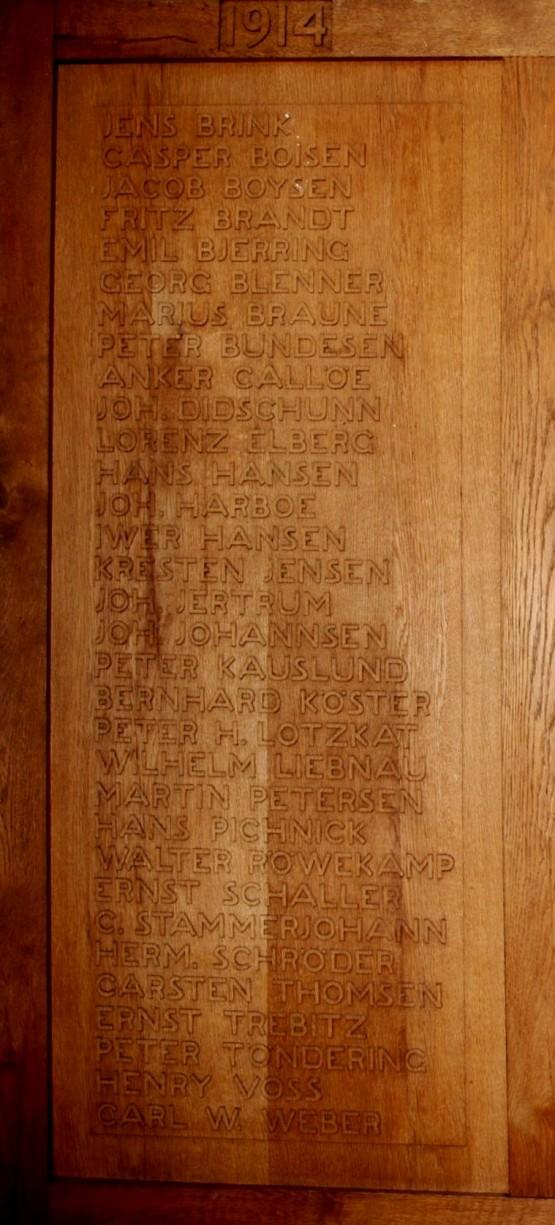 Detalje af mindetavle, Skt. Nicolai Kirke, Aabenraa. Jacob Christian Boysen står som nr. 3 i rækken af navne