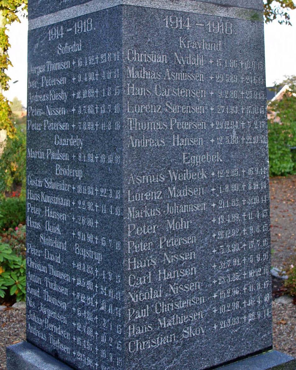 Mindesten, Tinglev Kirkegård