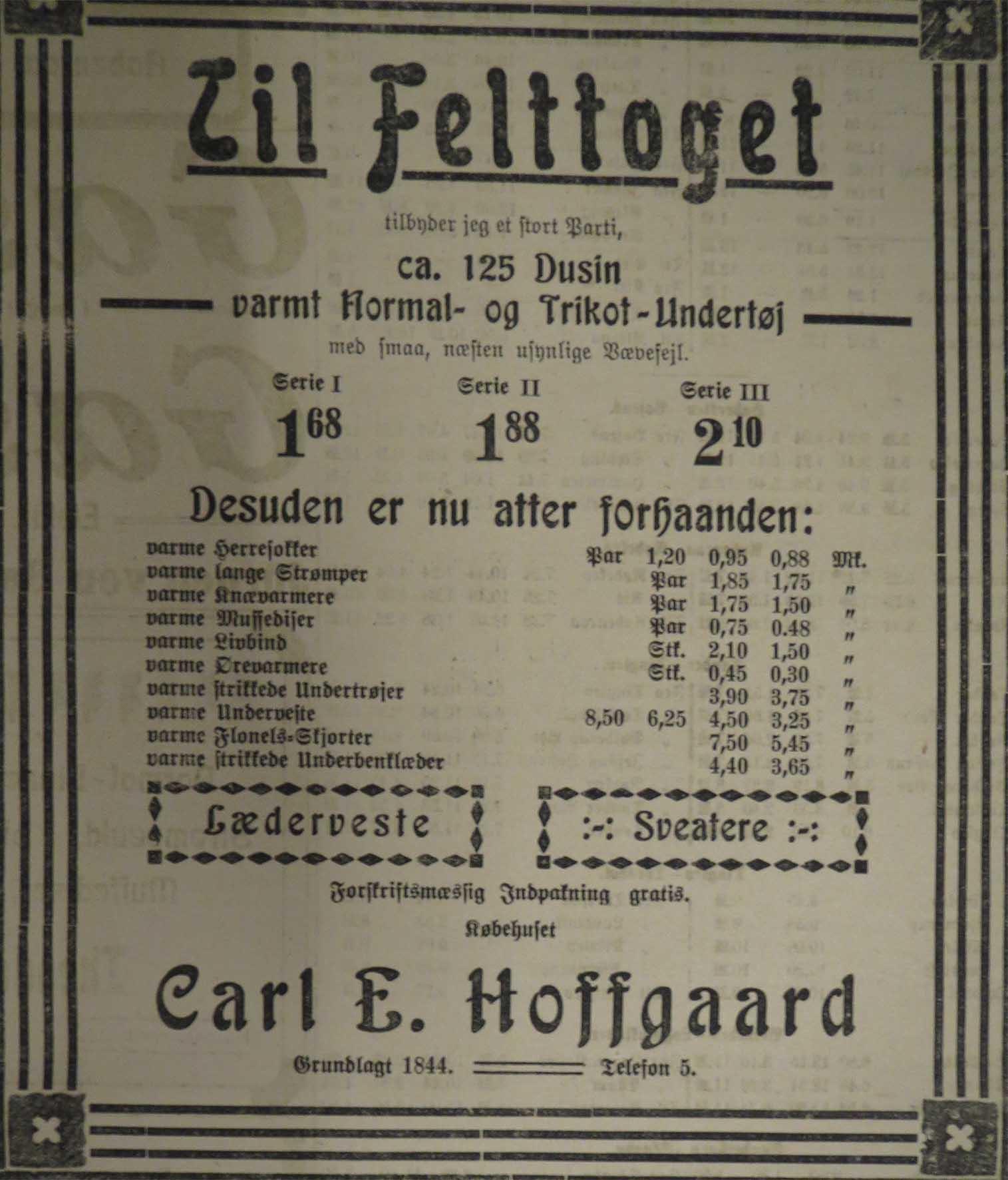 14. oktober 1914. Annonce: Varmt tøj til soldaterne