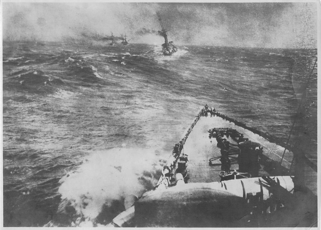 """8. december 1914. """"En kæmpemæssig Vandsøjle skød op lige foran Dresden."""""""
