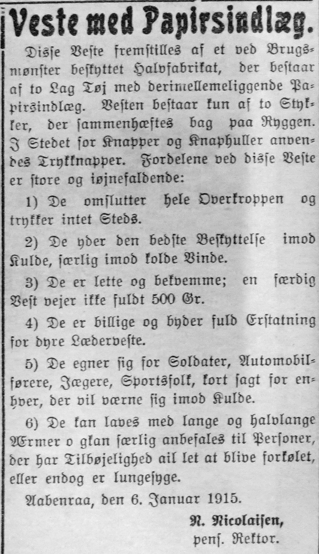 8. januar 1915. Annonce: Veste med papirsindlæg til frysende soldater