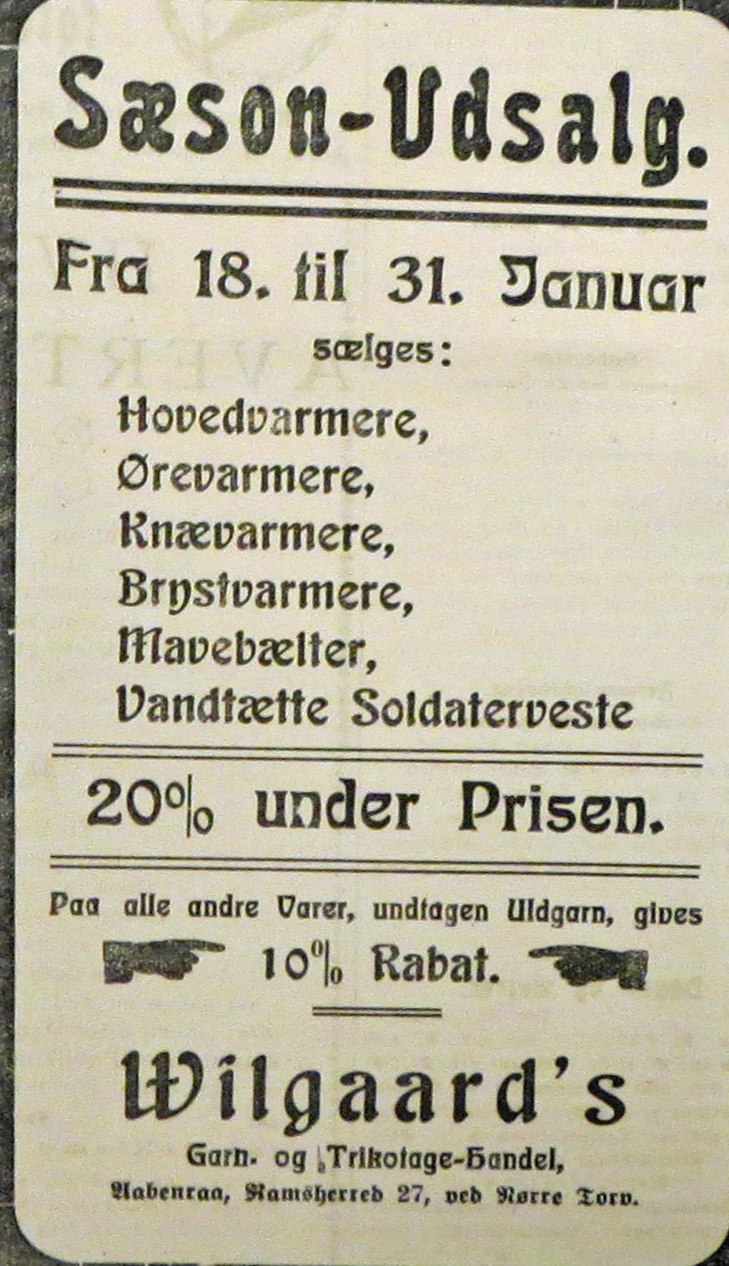 25. januar 1915. Januarudsalg: Køb varmt tøj til soldaterne! Nedsat pris!