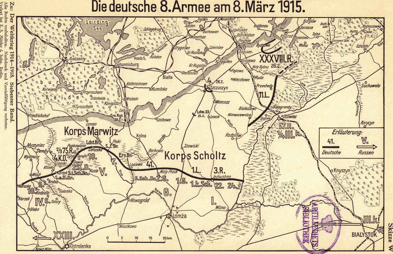 27. februar 1915. Afsluttende kampe ved de Masuriske søer