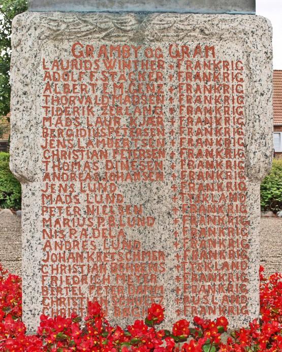 Detalje af mindesten, Gram Kirkegård