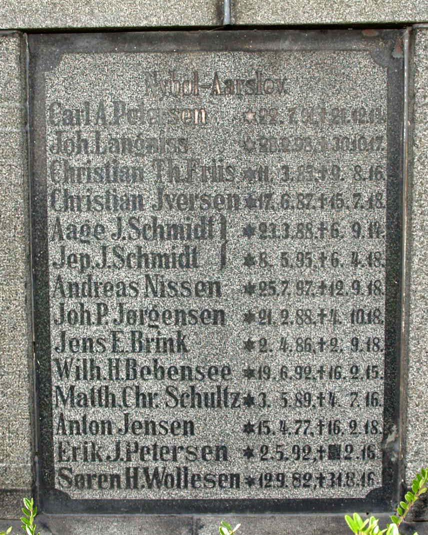 Mindesten, Hjordkær Kirkegård