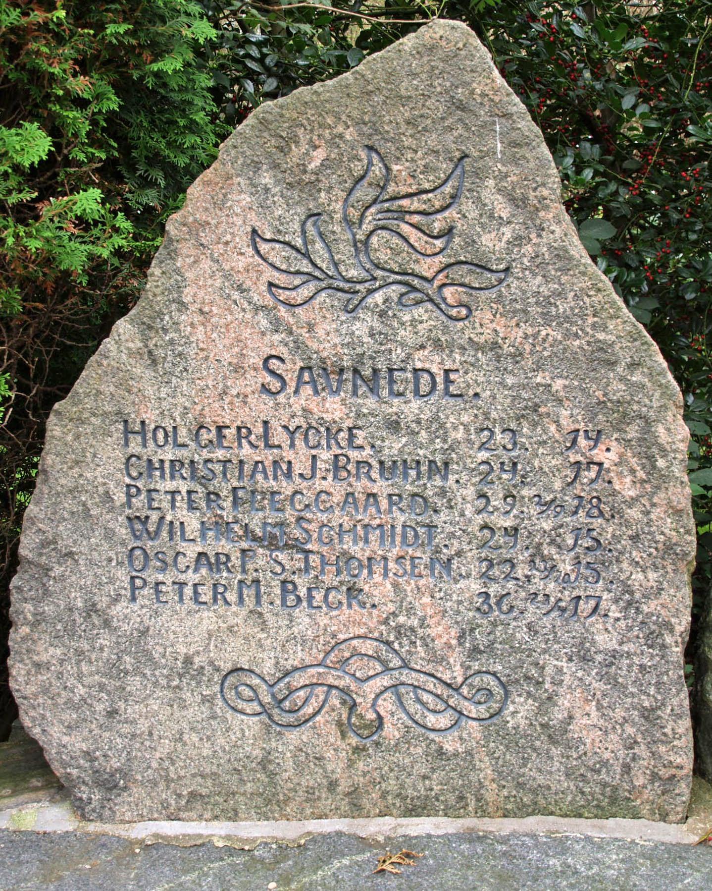 Del af mindesten Rødding Kirkegård